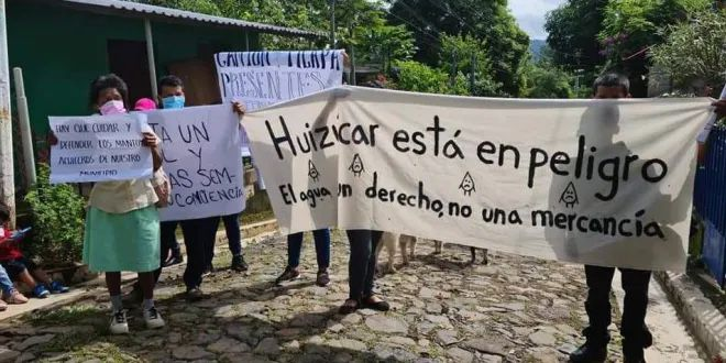 Población de Huizúcar en resistencia y en defensa del acuífero